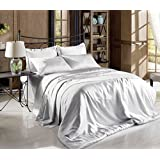 Chezmoi Collection 4-piece Bridal Satin Solid Color Sheet Set (King, Silver)