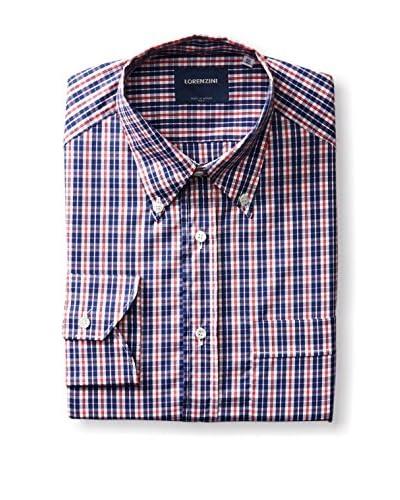 Lorenzini Men's Marais Button-Down Metro Fit Checked Dress Shirt