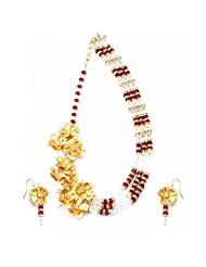 Aarya 24kt Gold Foil flower Necklaces set with twisted small crystal for women