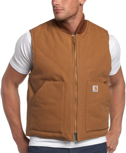 Carhartt Men's Arctic-Quilt Lined Duck Vest, Brown, Large Regular