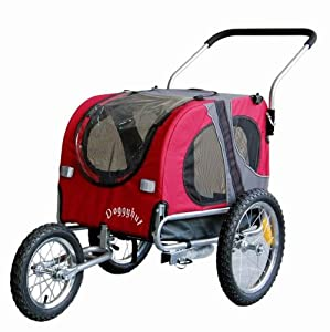 Doggyhut Medium Pet Dog Bicycle Trailer & Jogging Stroller in Red Inside Dimensions 68x43.4x51cm