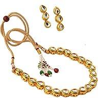 Zephyrr Golden Non-Precious Metal Chain Necklace With Earrings Women & Girls