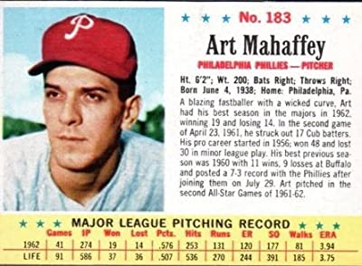 1963 post cereal (baseball) Card# 183 Art Mahaffey of the Philadelphia Phillies Good Condition