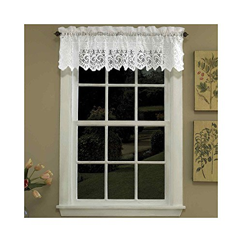 Lorraine home fashions hopewell lace window valance 58 for 20 inch window blinds