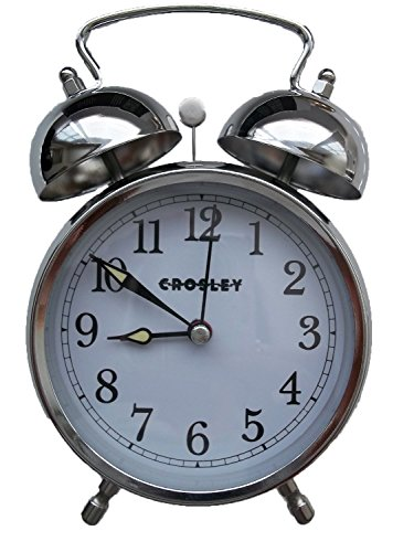 Crosley 33013 Classic Twin Bell Vintage Metal Alarm Clock / Non Ticking