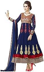 Begum Riwaaz Women's Georgette Unstitched Dress Material (4507, Blue)