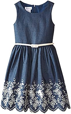 Bonnie Jean Big Girls' Chambray Dress With Embroidered Hem by Bonnie Jean Girls 7-16