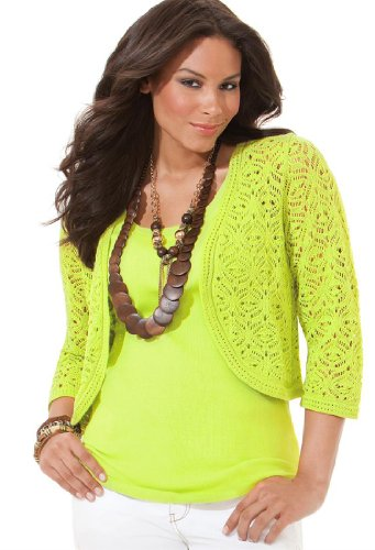 Avenue Plus Size Rounded Crochet Shrug by Avenue - Womens ...