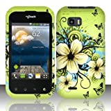 BUTTERFLY &amp; FLOWERS Hard Rubber Feel Plastic Design Case for LG myTouch Q C800 / Maxx Q (T-Mobile Slider Version) [In Twisted Tech Retail Packaging]