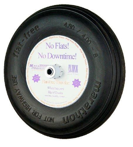 Marathon Industries 00063 4.80/4.00-8-Inch Flat Free Wheelbarrow Tire - Ribbed Tread - 3-Inch Centered Hub - 3/4-Inch Bearings - 15.5-Inch
