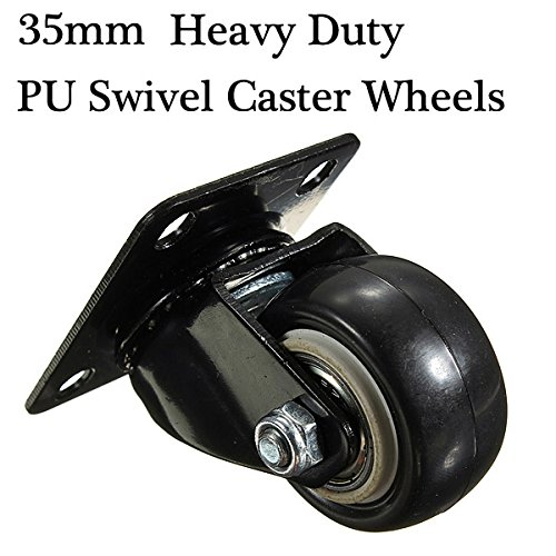 Heavy Duty PU Swivel Castor Wheels Trolley Furniture Caster Rubber.