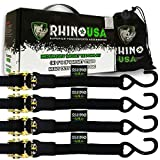 "RHINO USA Ratchet Tie Down Straps (4PK) - 1,823lb Guaranteed Max Break Strength, Includes (4) Premium 1"" x 15' Rachet Tie Downs with Padded Handles. Best for Moving, Securing Motorcycle and Cargo"