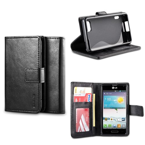 IZENGATE Classic Premium PU Leather Wallet Flip Case Cover Folio Stand for LG Optimus F3 (Virgin Mobile & Sprint Only) (Black) (Lg F3 Wallet Case compare prices)