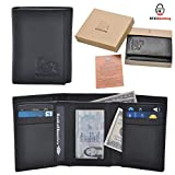 Estalon Handmade Men's Rfid Blocking Genuine Leather Trifold Multi Card ID Window Wallet Black