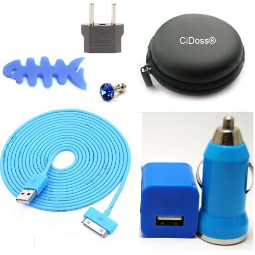 Cidoss® Blue 7 In 1 10Ft 3M Long 30Pin Usb Data Sync And Charge Cable + Car Charger + Cable Hard Case/Bag + Fish Bone Cord Winder Wrap +Eu Adapter + Headset Rhinestone Dust Plug Kit Fits Iphone 4/4S, Iphone 3G/3Gs, Ipod