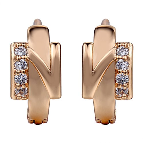 Snowman Lee Side With Mini Beads Diamond Stones 18k Rose Gold Plated Hoop Earrings