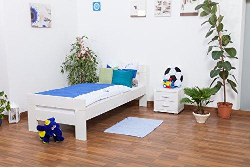 "Lit pour enfants / ados ""Easy Sleep"" K2, hêtre massif laqué en blanc"