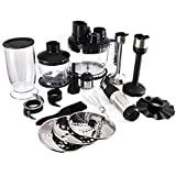 NutriChef Food Processor And Immersion Blender, Stainless Steel With Attachments
