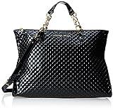 Armani Jeans Quilted Patent Large Zip Shopper Shoulder Bag,Black,One Size