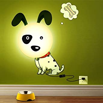 hipkid kinder wandlampe wanddeko kinderzimmer s er hund beleuchtung. Black Bedroom Furniture Sets. Home Design Ideas