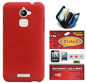 Tidel Ultra Thin and Stylish Rubberized Back Cover for Coolpad Note 3 Lite 5 Inch ( RED)+ Credit Card Holder & screen guard