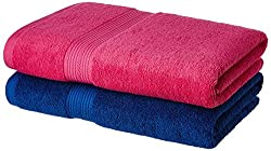 Solimo 100% Cotton 2 Piece Bath Towel Set, 500 GSM (Iris Blue and Paradise Pink)