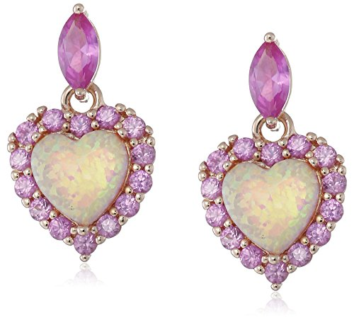 Rose-Gold-Plated-Sterling-Silver-Created-Pink-Opal-and-Created-Pink-Sapphire-Heart-Dangle-Earrings
