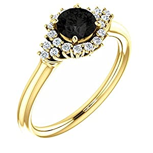 18K Yellow Gold Round Cut Black Diamond Engagement Ring - 0.9 Ct.