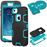 iPhone 5S Case,ULAK 3in1 [Shock Absorbing] Rubber Combo Hybrid Impact Silicone Hard Case Cover for Apple iPhone 5S/5/5G(Black/Blue)