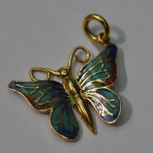 14kt Yellow Gold Enamel Butterfly Pendant