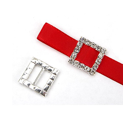 35pcs Square Rhinestone Buckle Invitation Ribbon Slider for Ribbons Wedding Supply Gift Wrap Hairbow Center (15*15mm)