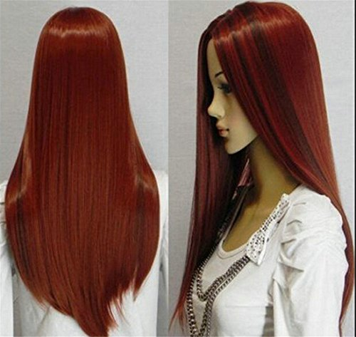 Anime Lolita Cosplay Red Long Staight Costume Synthetic Halloween Party Hair Wigs