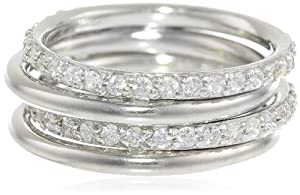 Sterling Silver Cubic-Zirconia and Polished Thin Band Four Stackable Ring Set, Size 6