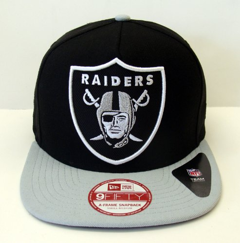 Oakland Raiders New Era 9Fifty Team Filler Snapback Cap Hat Black Grey