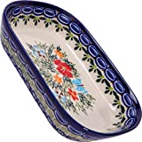 Polish Pottery Ceramika Boleslawiec,  0726/238, Butter Platter, 6 Long by 4 1/2 Inches Wide - 2 Cubes, Royal Blue Patterns with Red Cornflower and Blue Butterflies Motif
