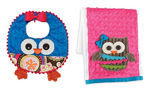 Mud Pie Forest Friends Girl's Owl Bib and Burp Cloth Set