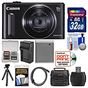 Canon PowerShot SX610 HS Wi-Fi Digital Camera with 32GB Card + Case + Battery & Charger + Flex Tripod + HDMI Cable + Kit