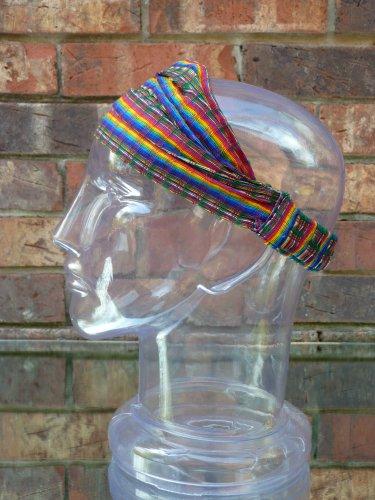 Medium Rainbow Headband Expandable Handwoven Hair Band Lightweight Bandana Headwrap Elastic 100% Cotton Hair Scarf front-506378
