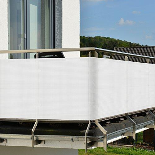 balkon sichtschutz 3 0x0 9m wei witterungsbest ndige balkonumspannung mit befestigung. Black Bedroom Furniture Sets. Home Design Ideas