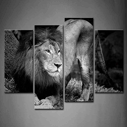 4 Panel Wall Art Black And White Black And White Lion Portrait Painting The Picture Print On Canvas Animal Pictures For Home Decor Decoration Gift Piece (Stretched By Wooden Frame,Ready To Hang)