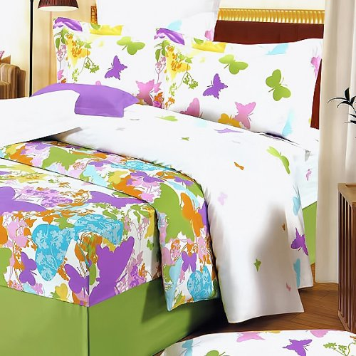 Blancho Bedding - [Green Purple Butterflies] 100% Cotton 4PC Comforter Cover/Duvet Cover Combo (King Size)