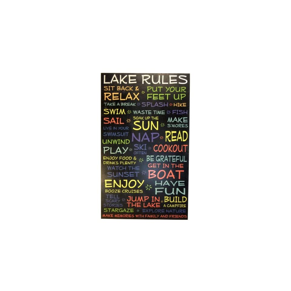 Lake Rules Sign 18x30 in. funny decorative wood plaque with black background