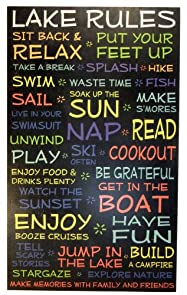 Lake House Rules Sign- Black - 18 x 30 - Makes a Great Decoration, Wall Art, Gift, Decor in Any Beach House, Cabin, Cottage, Home, or Lodge. Made in USA.