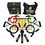 #1 Resistance Bands Exercise Equipment Workout Set (15 Pcs) - Home Gym Exercise Bands For Travel, Rehab, Crossfit, Pilates, & Physical Therapy - 2 Free Gifts With Box