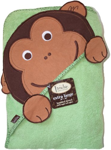 "Extra Large 40""x30"" Absorbent Hooded Towel, Monkey, Frenchie Mini Couture"
