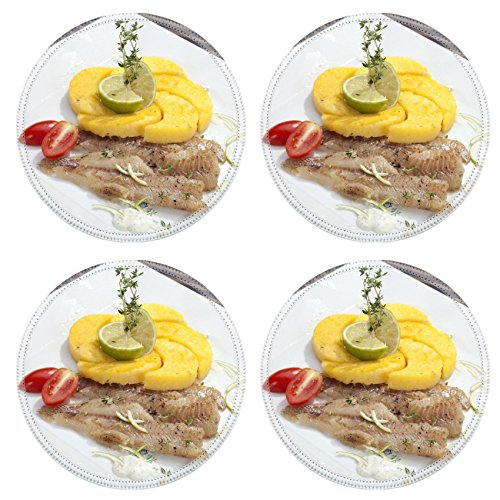 Luxlady Natural Rubber Round Coasters IMAGE ID: 23837899 Grilled codfish with baked corn polenta and lemon skin slices (Polenta Machine compare prices)