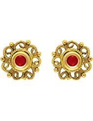 Traditional Ethnic Red Floral Stud Gold Plated Dangler Earrings With Crystals For Women By Donna ER30117G