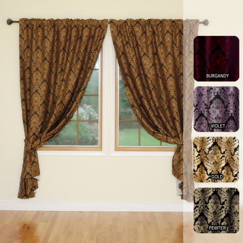 "DAMASK Jaquared Insulated Thermal Blackout Window Curtain84""L-GOLD"