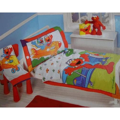 com sesame street elmo aviator 4 piece toddler bedding set baby
