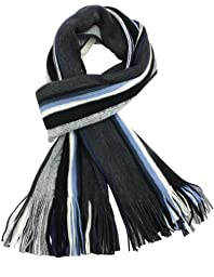 Dahlia Men's 100% Fine Acrylic Colorful Striped Knit Long Scarf - Blue